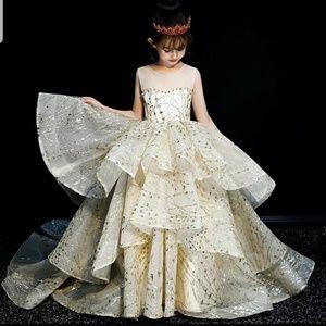Cream Ivory Gold Glitter Pageant flower girl dress